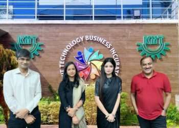 A group photo clicked in February 2020 from (right to left), Dr Mrutyunjay Suar, CEO & Founder KIIT TBI, Dr Lita Mohapatra, Founder LosJovenes Clinilogic Pvt Ltd, Dr Namrata Misra, Head Bio-Innovation, KIIT –TBI , Dr Gopal Chowdhary, Research Team Head